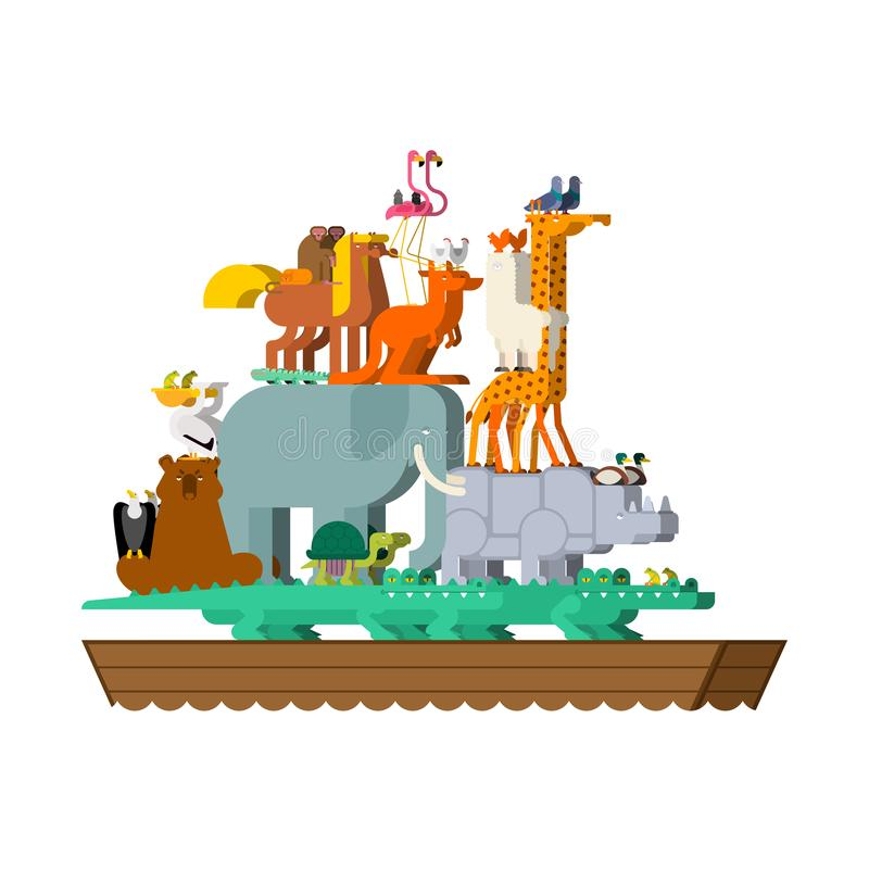 Noah Ark and animals. Pairs of beasts. Rescue from flood. Big ancient ship from bible. Biblical boat.  stock illustration