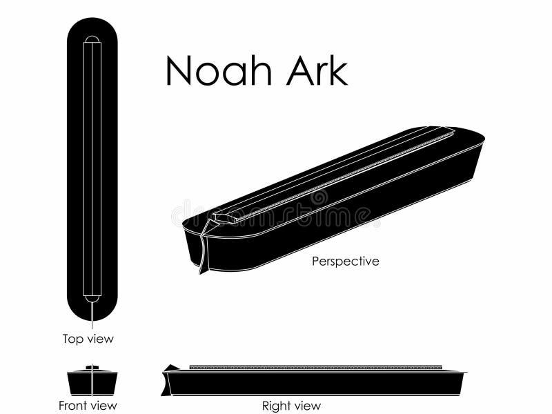 Noah Ark black fill. Ship that kept the animals of the land during the flood. Christian symbol stock illustration
