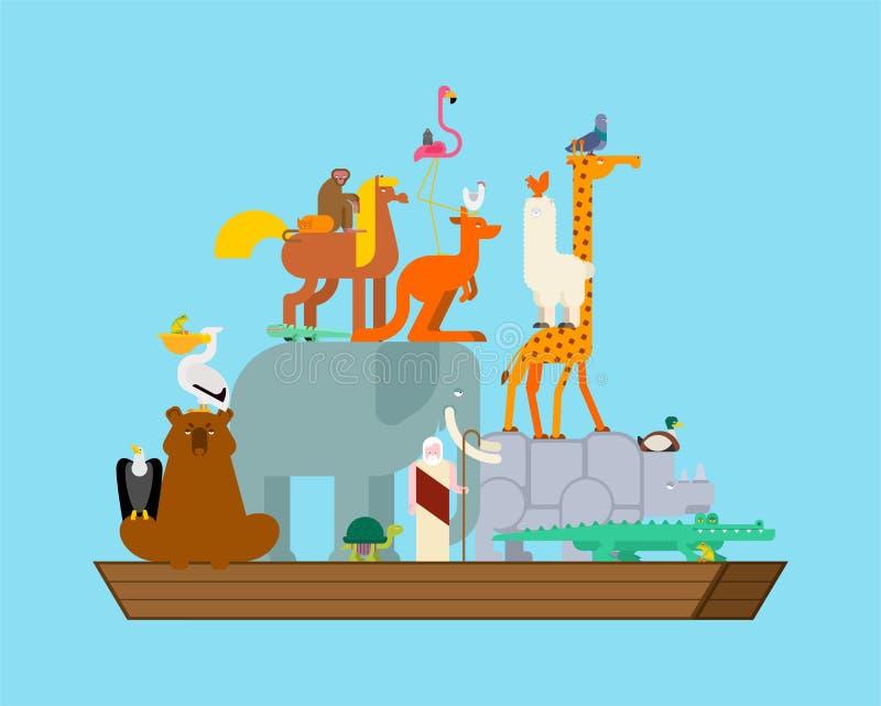 Noah Ark ed animali Coppie le bestie Salvataggio dall'inondazione Grande nave antica dalla bibbia Barca biblica illustrazione di stock