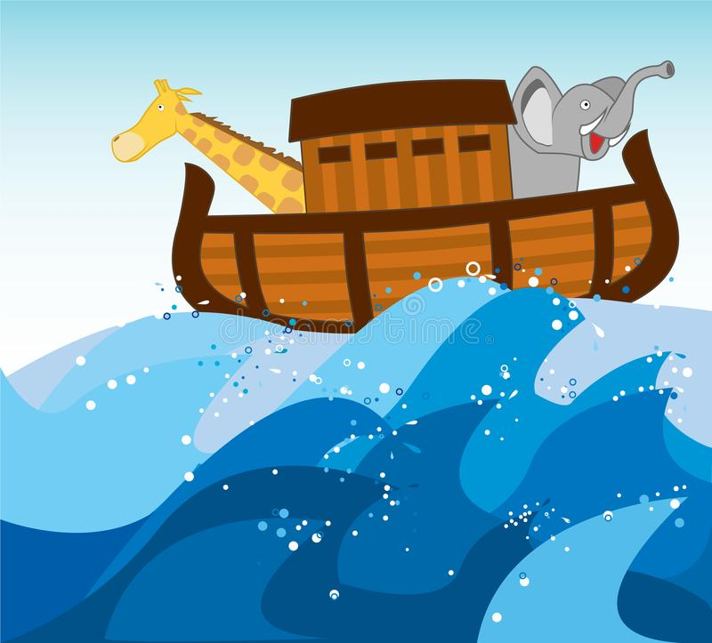 Noah ark. Illustration of Noah`s Ark and Animals on Universal Flood Waves to Bring All Salvage Animals this illustration could be used to advertise for respect royalty free illustration