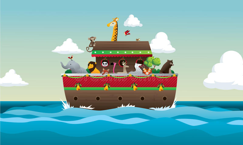 Noah Ark vector illustration. With animals in sea stock illustration