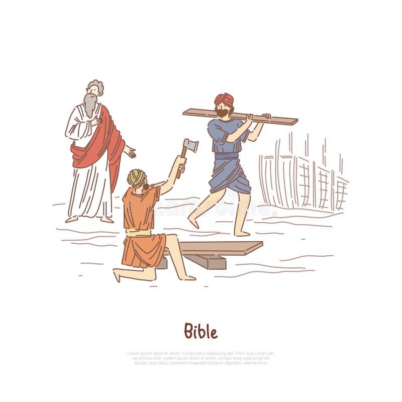 Noah building ark myth, legend, Bible story plot, saint biblical characters, people constructing ship banner template. Great flood narrative concept cartoon royalty free illustration