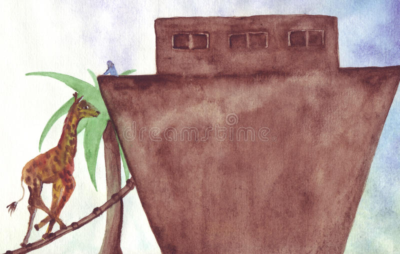 Noah calls giraffe on ark. The giraffe came after Noah has called for the Flood in coming - are gathering clouds in the sly and it is time to leave royalty free illustration