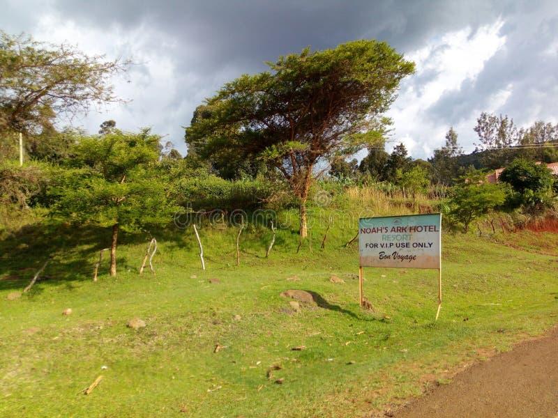 Noah& x27; cara del camino del hotel A de la arca de s 500 metros hacia la región del este de la ciudad de Kapchorwa en Uganda, Á imagen de archivo