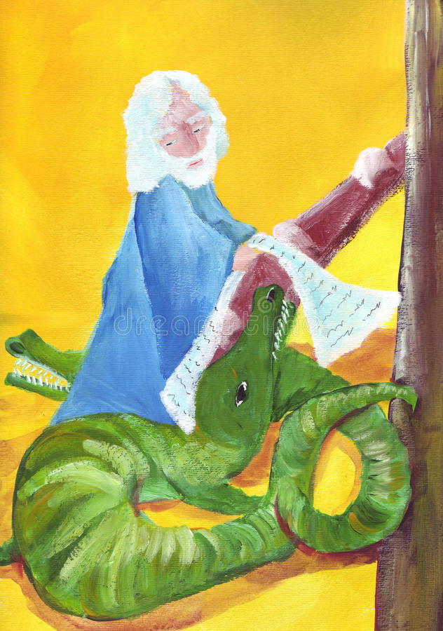 Noah ed i coccodrilli illustrazione vettoriale