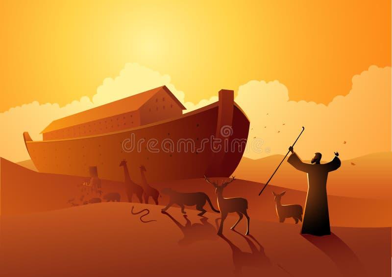 Noah en de bak vóór grote vloed vector illustratie