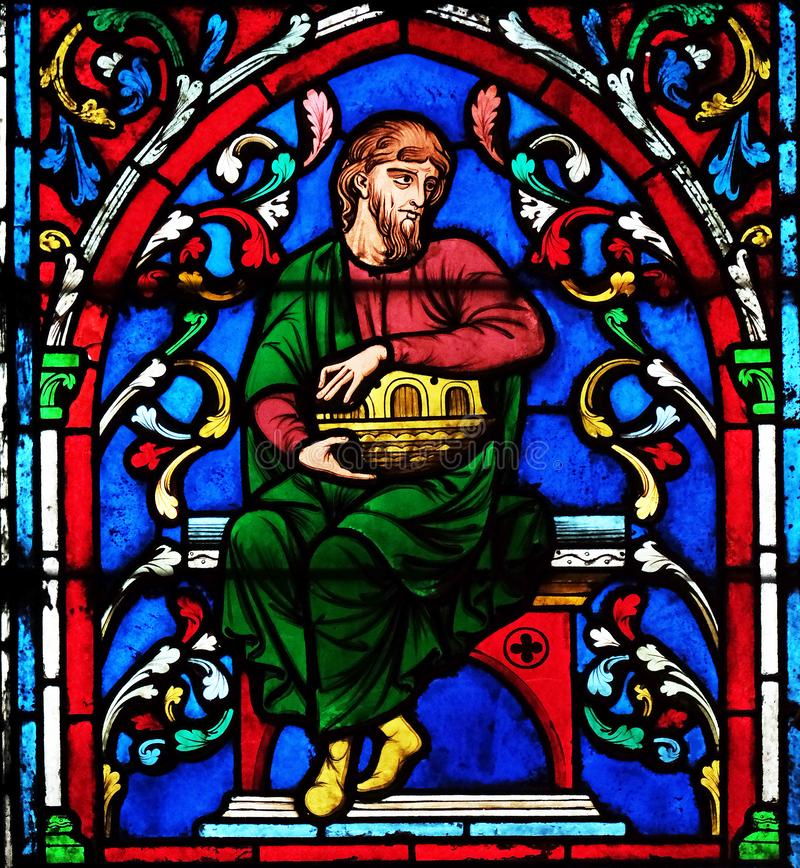 Noah And His Ark. Stained glass window in the Notre Dame Cathedral, UNESCO World Heritage Site in Paris, France stock image