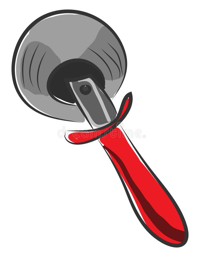 Noah pizza cutter vector or color illustration. Noah pizza cutter with an ash-colored wheel that rotates in a circle while a person moves the cutter in a royalty free illustration
