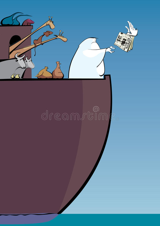 Noah's ark. Pigeon give to Noah newspaper royalty free illustration