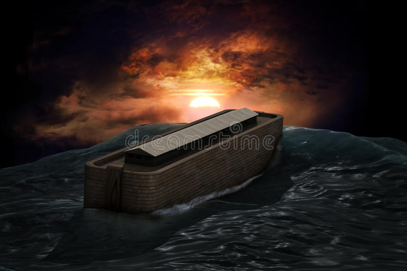 Noah's Ark. Riding on a swell after the Great Flood stock illustration