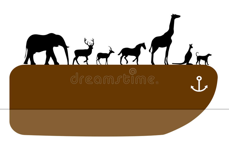 Noah's ark. The Ark of Noah with lots of animal species stock illustration