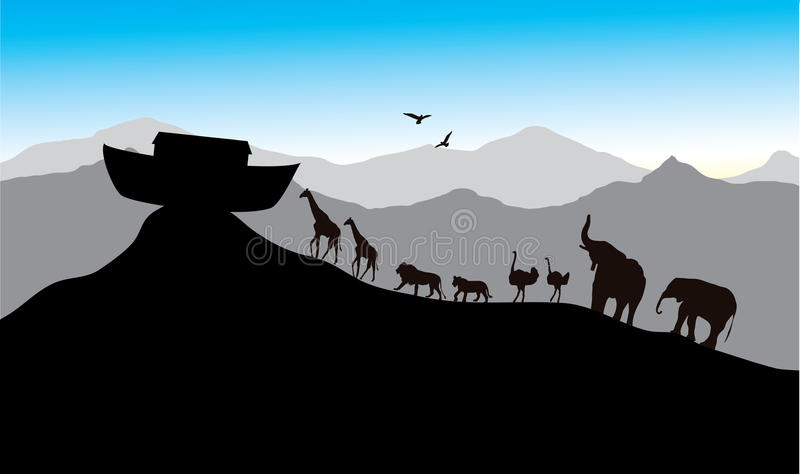 Noah's Ark. Bible stories, vector image, each pair of creatures stock illustration