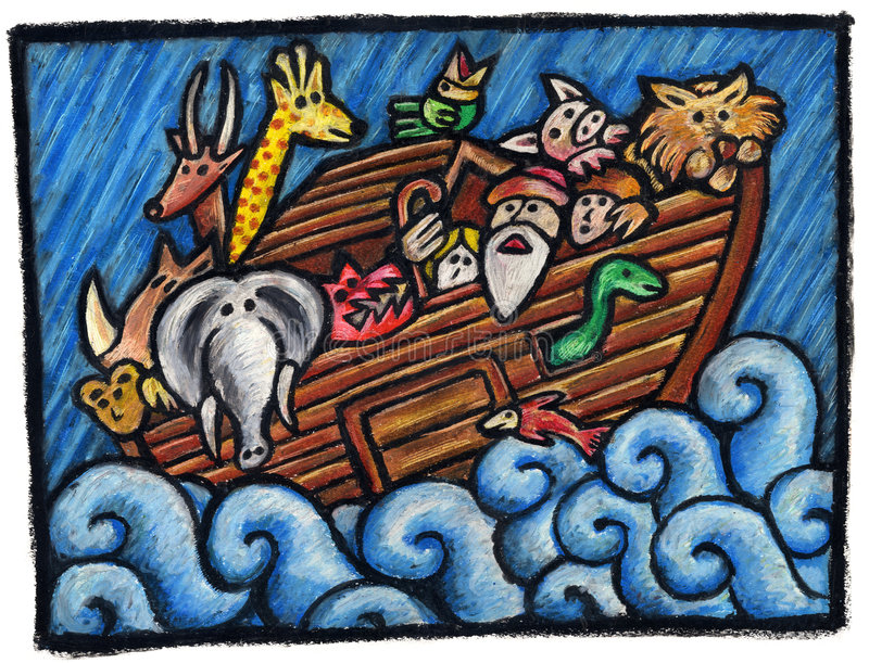 Noah's Ark. A Noah's Ark Illustration: Some Noah's Animals are waiting for the end of the Rain Technique: oil pastels on paper vector illustration