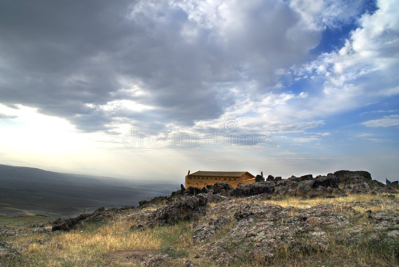 Noah's Ark. On Mount Ararat. Ark is generated digitally stock image