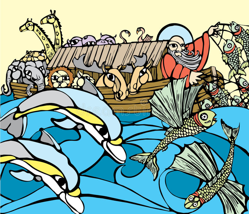 Noah's Ark. Noah fishes of the side of his Ark while dolphins play royalty free illustration