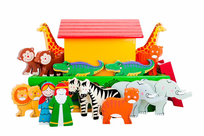 Noah's Ark and animals. Hand painted wooden figures of Noah's Ark royalty free stock photos