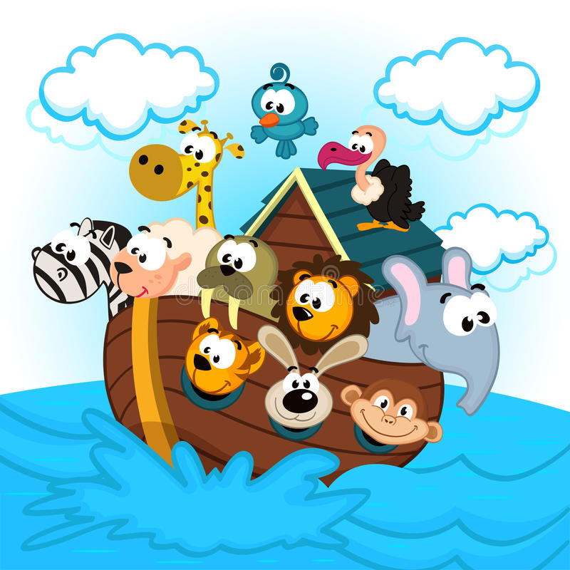 Noah's Ark with Animals. Vector illustration royalty free illustration