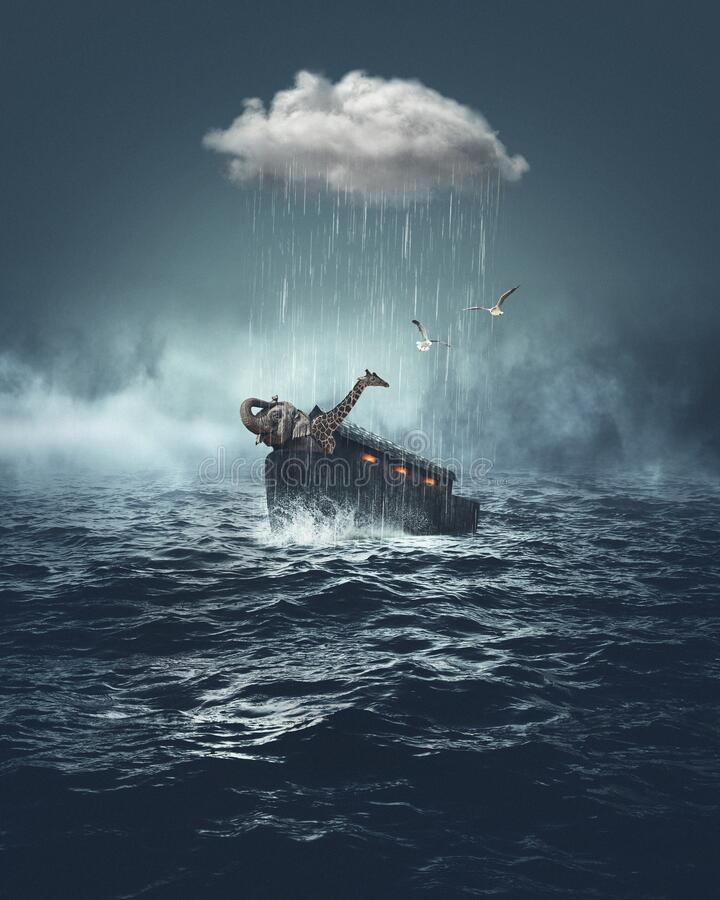 Noah`s Ark Bible Story. Noah`s Ark book of Genesis Bible Story with small cloud on top of the vessel in the sea stock photos