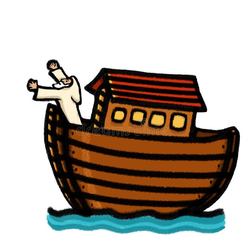 Noah`s Ark bible story illustration. Noah is waiting for the dove to return vector illustration