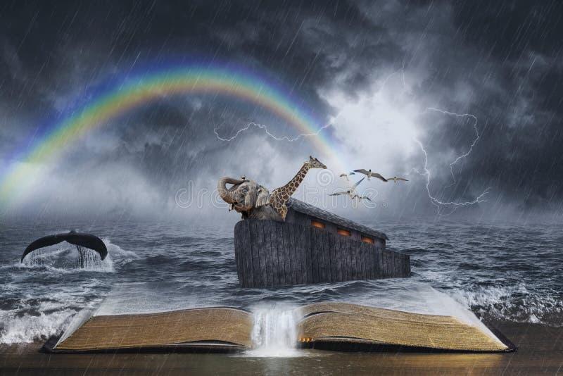 Noah`s Ark Biblical Story. An open Bible with the story of Noah's ark stock photos