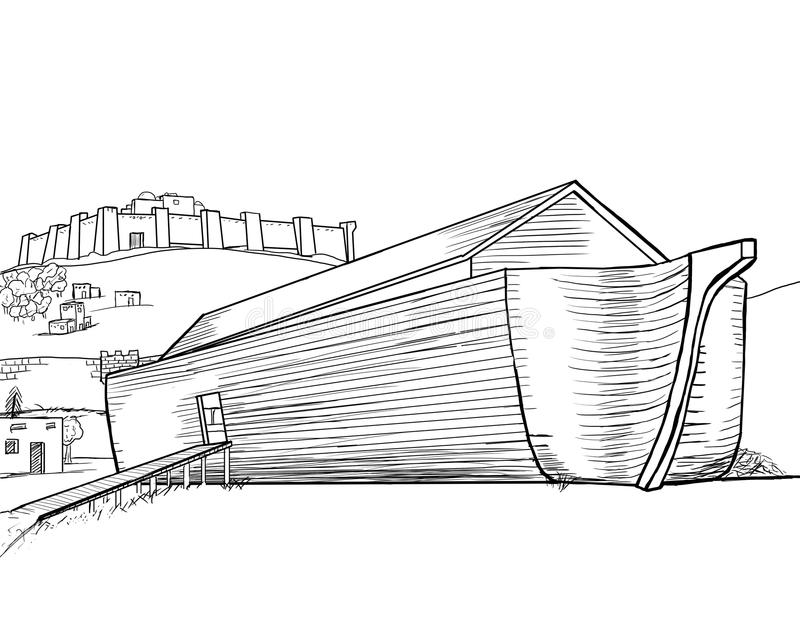 Noah's Ark Completed. A sketch drawing of Noah's ark vector illustration
