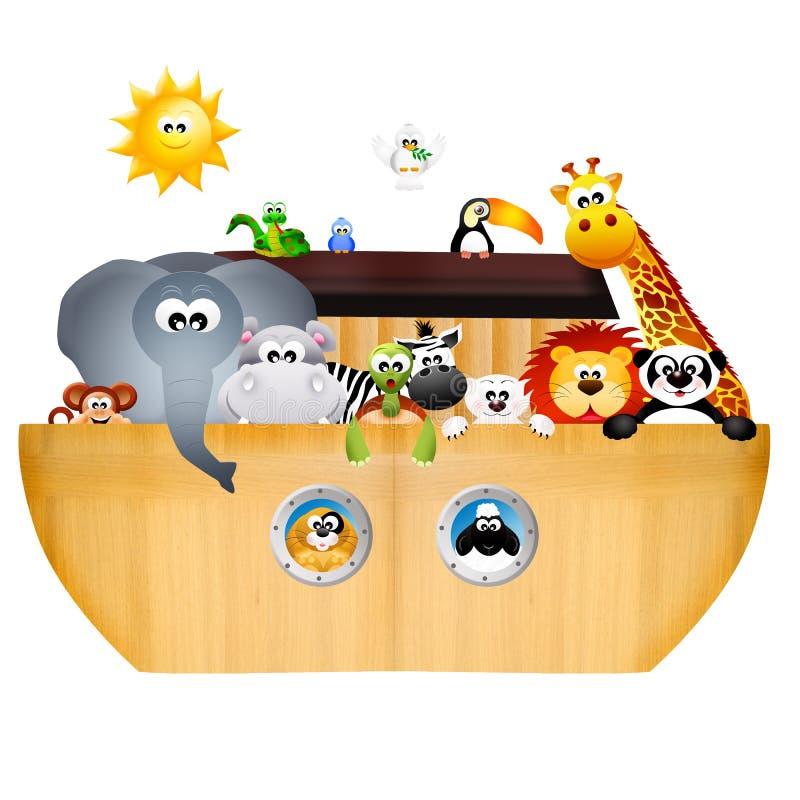 Noah's ark. Illustration of animals on Noah's ark vector illustration