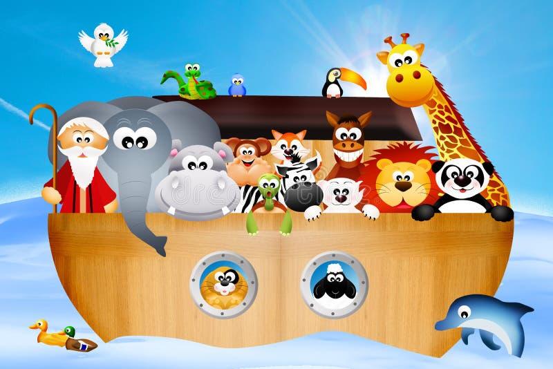 Noah's ark. Illustration of animals on Noah's ark stock illustration