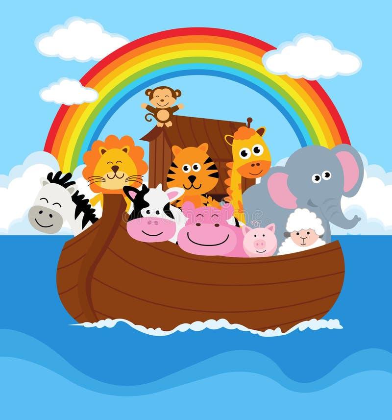 Noahs Ark. Illustration of Noahs Ark with some couples of animals stock illustration
