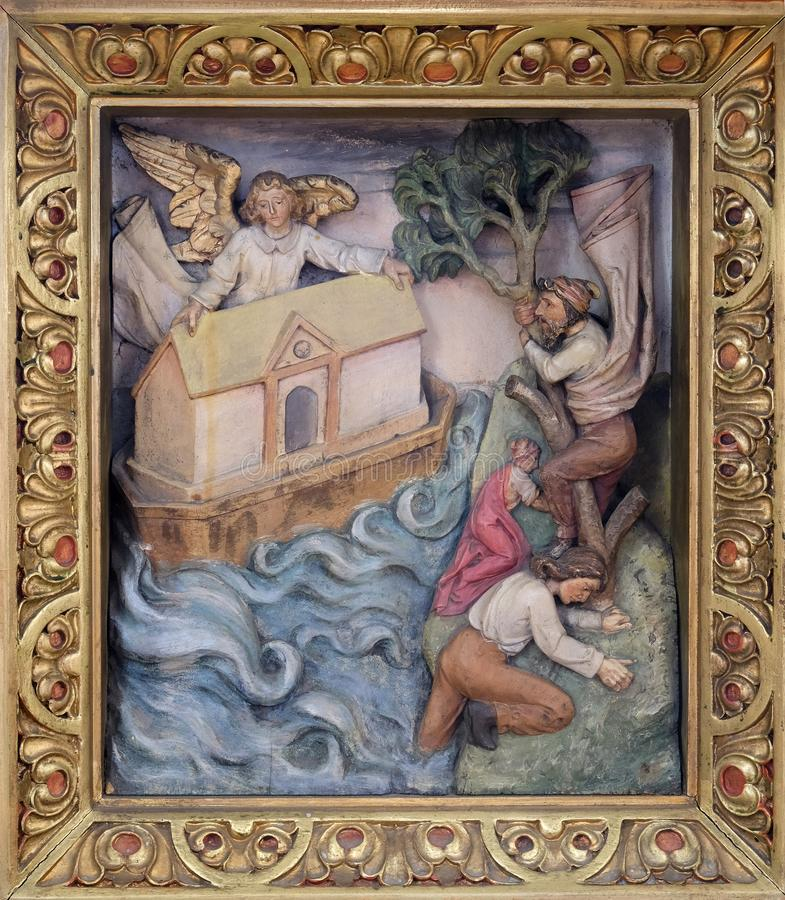 Noah`s Ark. Relief in the church of Saint Martin in Zagreb, Croatia royalty free stock photos