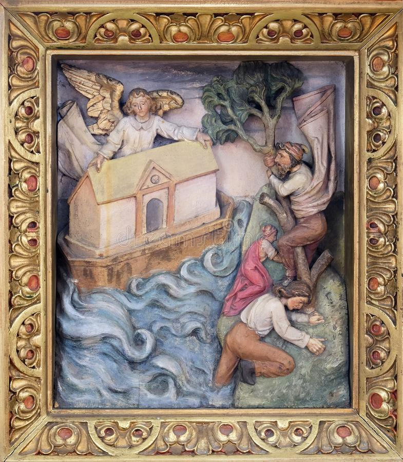 Noah`s Ark. Relief in the church of Saint Martin in Zagreb, Croatia stock images