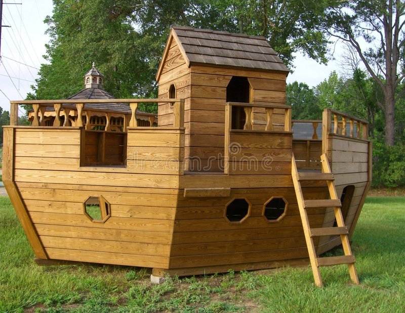 Noah's Ark Playground Equipmen. Wooden playground equipment Noah's Ark stock photo