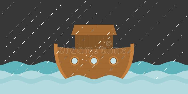 Noah`s ark in raining stock illustration