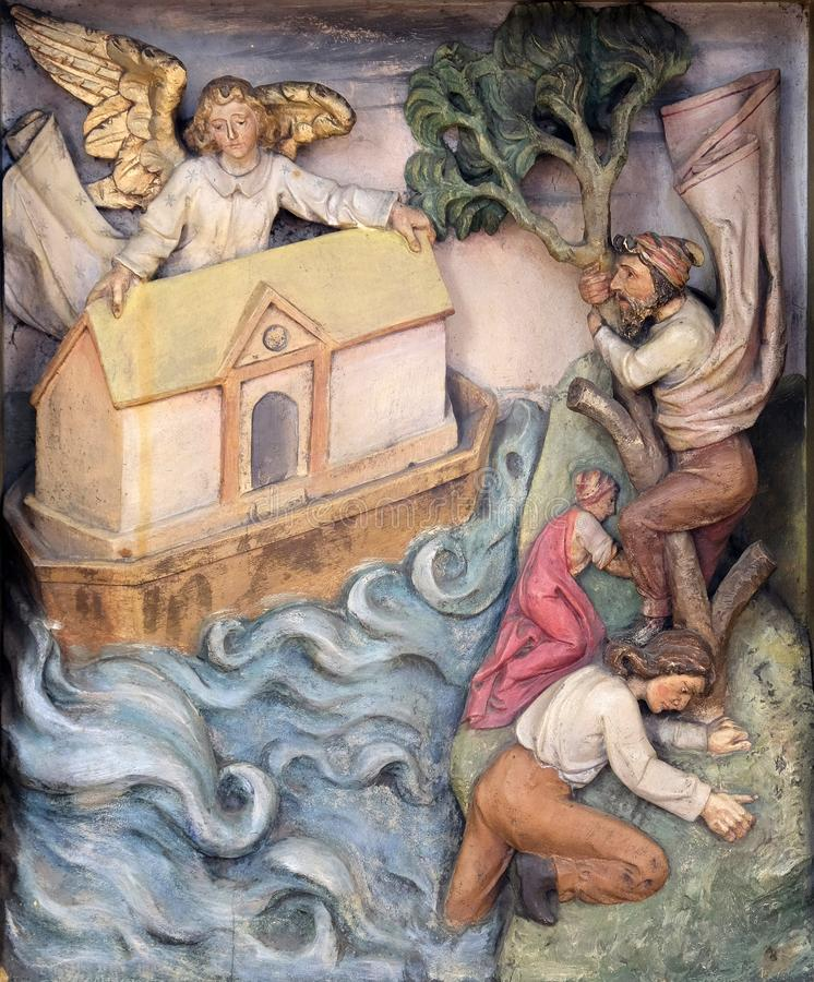 Noah`s Ark. Relief in the church of Saint Martin in Zagreb, Croatia royalty free stock photography