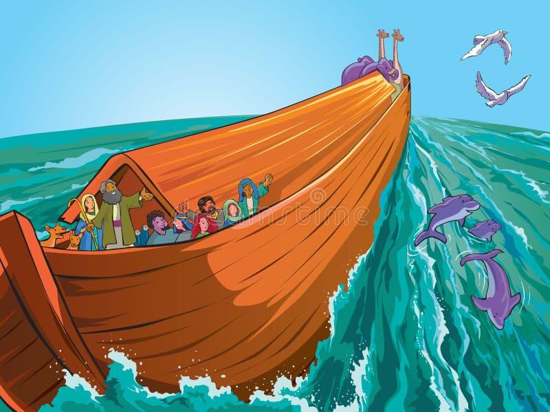 Noah's Ark. On the sea stock illustration