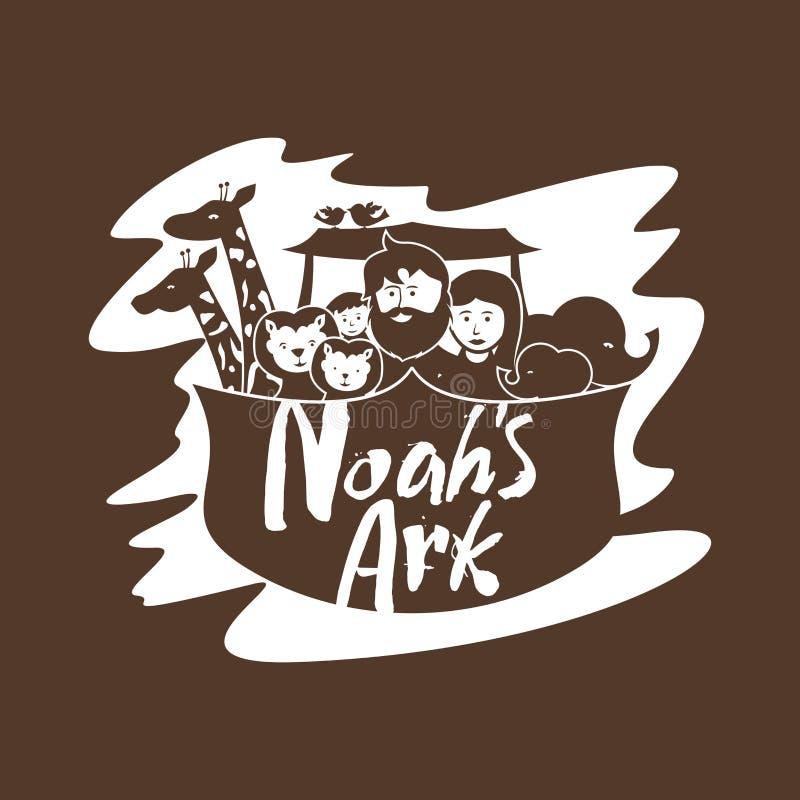 Noah, sua família e animais na arca ilustração royalty free