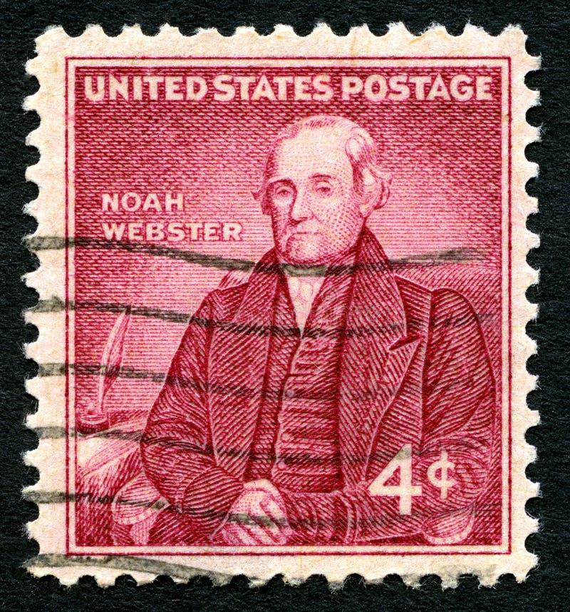 Noah Webster USA portostämpel royaltyfri fotografi