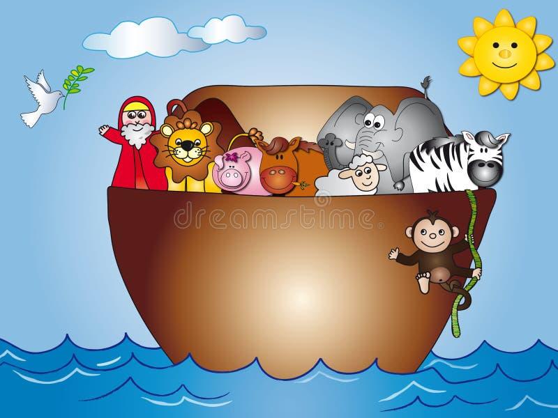 Noahs Ark. Illustration of Noah´s ark full of animals after the Flood royalty free illustration