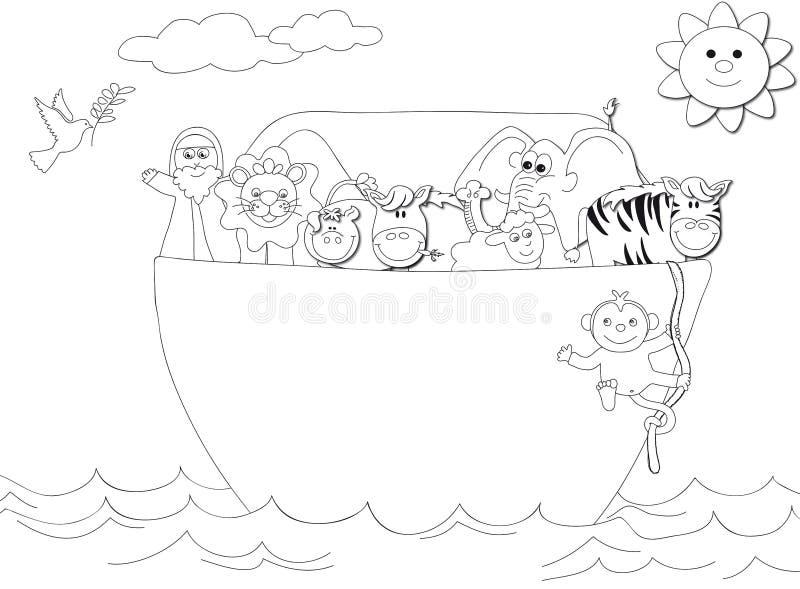 Noahs Ark. Illustration of Illustration featuring a black and white outline of Noah´s ark stock illustration