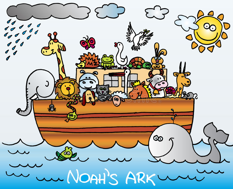 Noahs Ark. Illustration of Noah´s ark full of animals. vector image