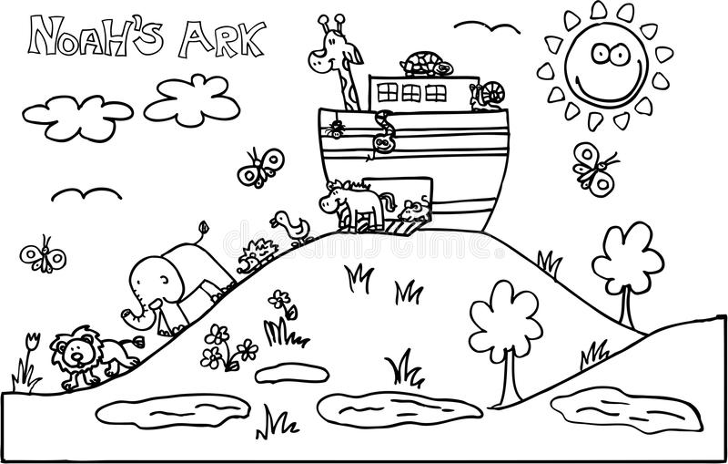 Noahs Ark. Illustration of Noah´s ark full of animals. vector image vector illustration