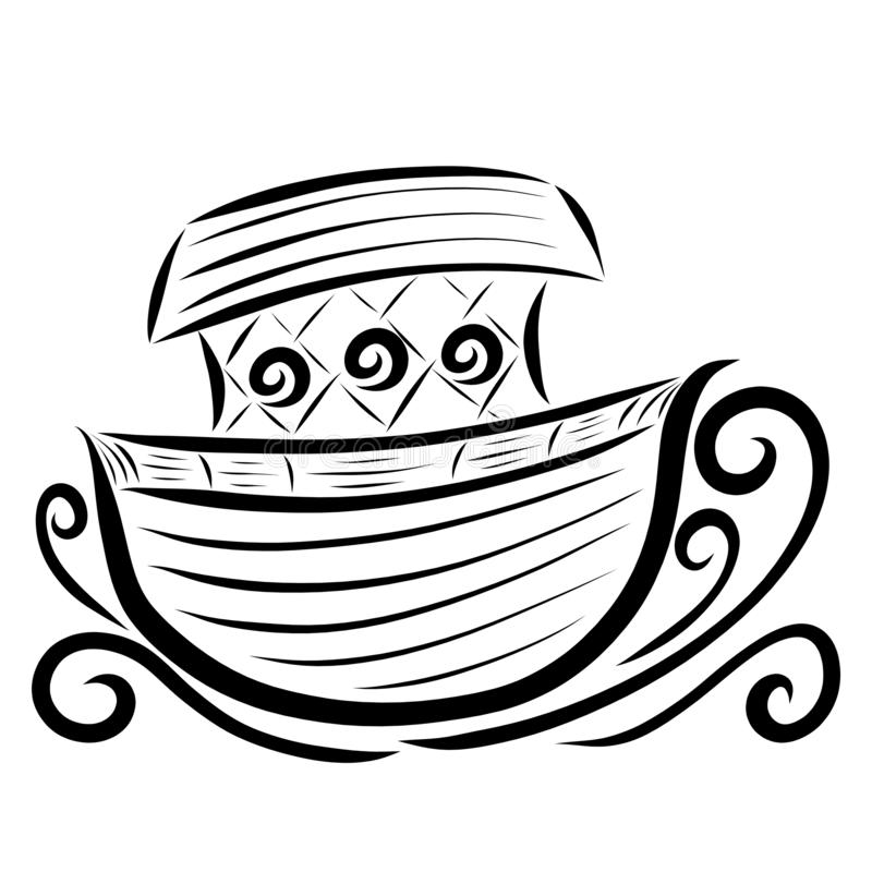 Noahs Ark floats on the waves, black outline royalty free illustration
