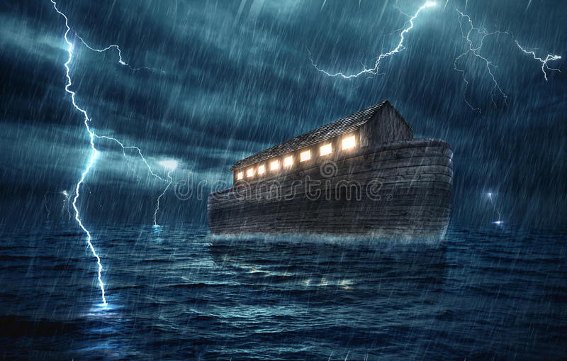 Noahs ark. Noah's ark during a rain and lightning storm stock photos