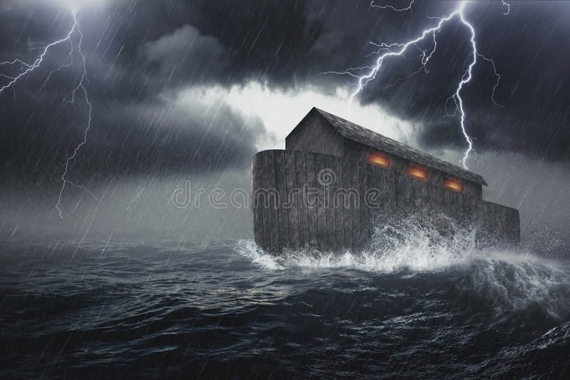 Noahs Ark. Noah`s Ark vessel in the Genesis flood narrative by which God spares Noah, his family, and a remnant of all the world`s animals from a world-engulfing royalty free stock image