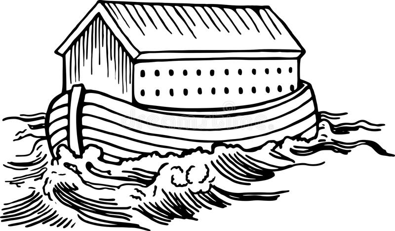 Noahs Ark. Simple black and white line drawing of Noahs ark boat floating on the water vector illustration