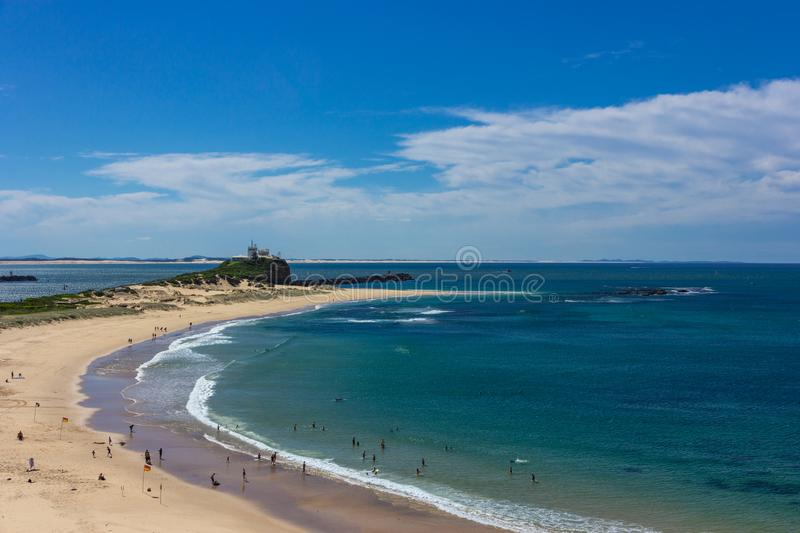 Nobbys Beach at Newcastle Australia.Newcastle is Australia`s sec. Ond oldest city stock images