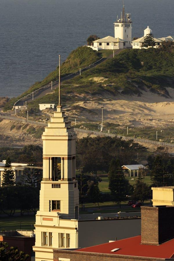 Nobbys Hoofdvuurtoren en het panorama van Newcastle royalty-vrije stock afbeeldingen