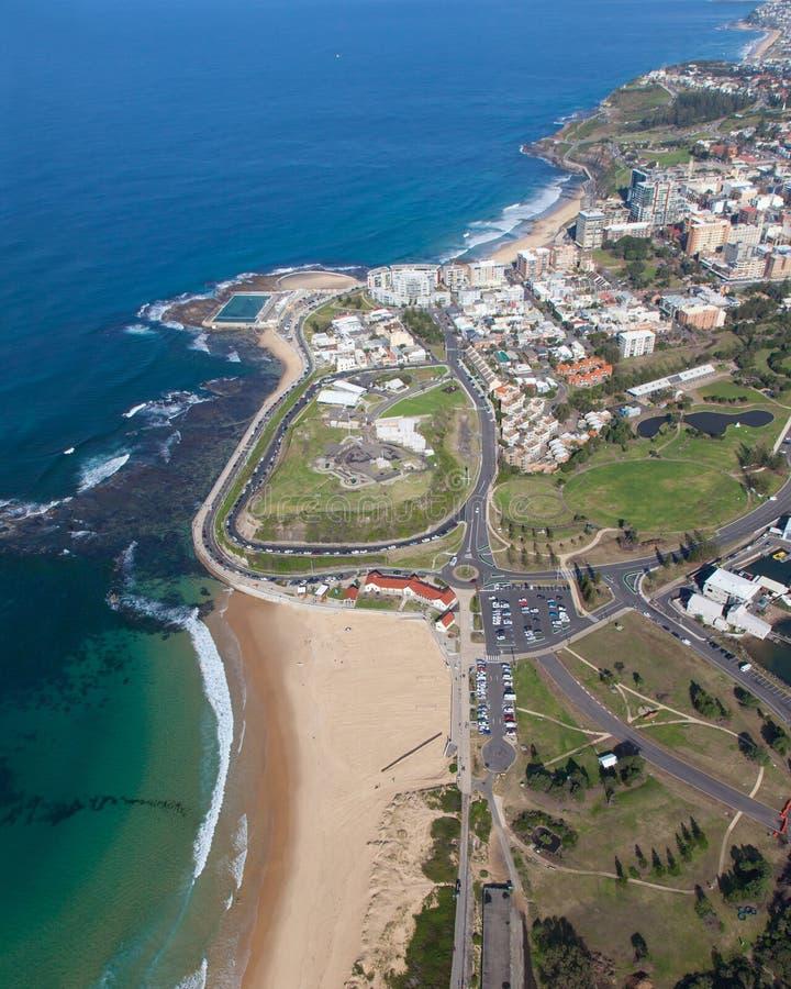 Nobbys plaża - Newcastle Australia widok z lotu ptaka obrazy royalty free