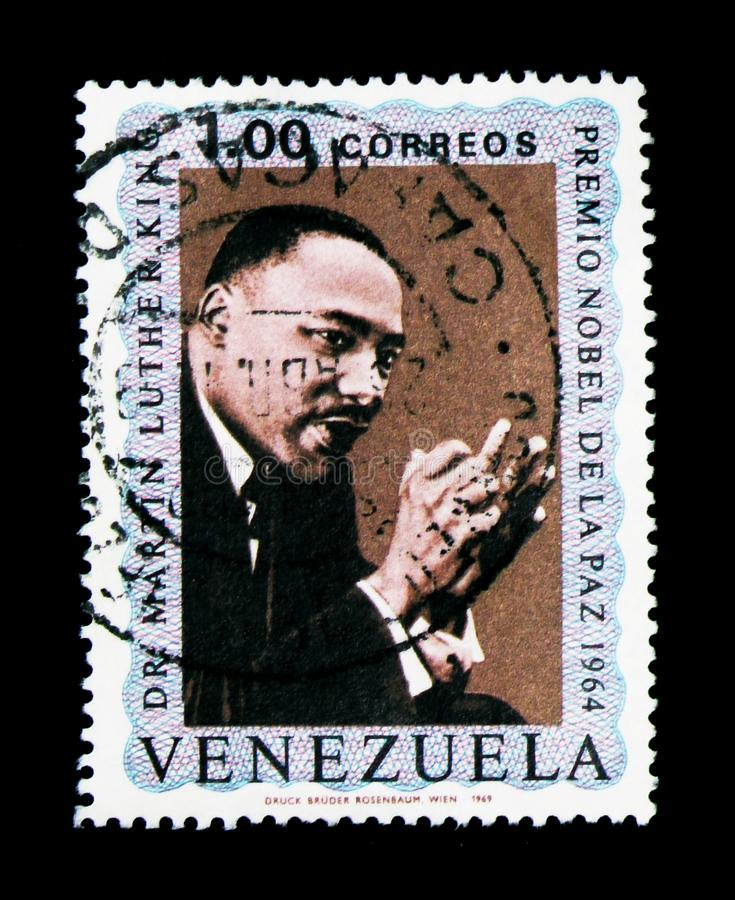 Nobel for peace 1964, Martin Luther King serie, circa 1969. MOSCOW, RUSSIA - NOVEMBER 26, 2017: A stamp printed in Venezuela shows Nobel for peace 1964, Martin royalty free stock images