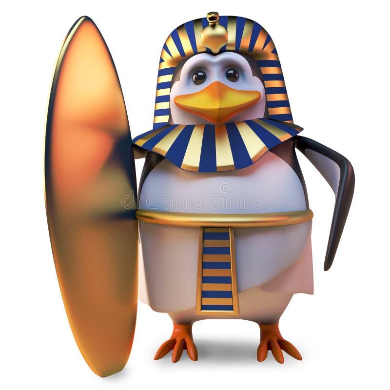 Nobel pingvinfarao Tutankhamun som rymmer det senast i guld- surfingbrädor, illustration 3d stock illustrationer