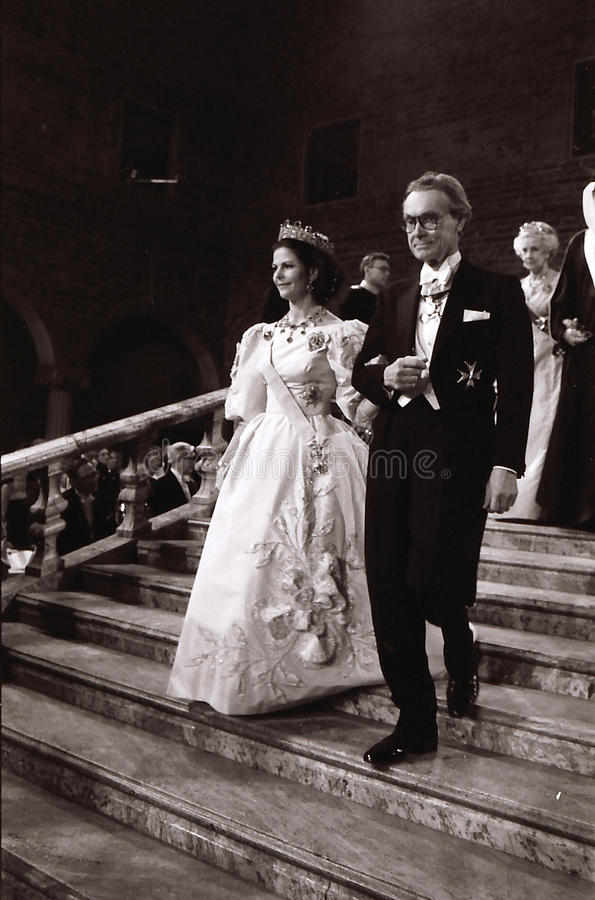 NOBEL PRIZE CEREMONY IN STOCKHOLM SWEDEN. STOCKHOM /SWEDEN _(Historical images of nobel ceemony) Unknown date H. M. the king Carl Gusta and Queem Sylvia of royalty free stock image